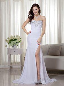 White Column Sweetheart Prom Dresses for Women in Chiffon