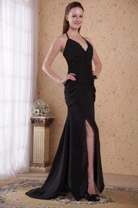 Sexy Sheath Halter High Slit Black Prom Nightclub Dress with Brush Train