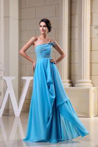 Beautiful Strapless Zipper-up Chiffon Prom Dress in Aqua Blue