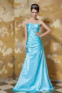 Aqua Blue Column Sweetheart Prom Dress Long Taffeta with Beading
