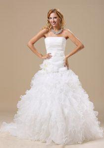 Sweet Flowers Court Train Organza Semi-formal Wedding Dress with Ruffles