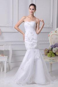Mermaid Beading Church Wedding Dress with Heart Shaped Neckline in White