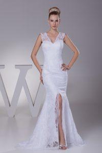 Romantic Mermaid V-neck Wedding Dress for Women with High Slit for 2014