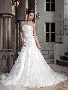 Custom Made Women Wedding Dress in White with Hand Made Flowers