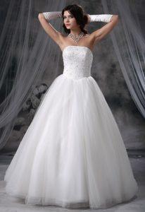 Elegant Strapless Beaded Bodice Ball Gown Dresses for Wedding in Tulle
