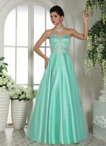 Sweetheart Beaded Trendy Prom Dresses with Rhinestones in Apple Green