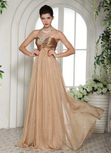 Maxi Champagne Chiffon Sweetheart Ruche Beaded Prom Celebrity Dress