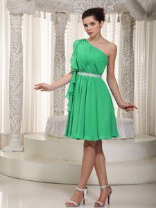 Attractive Green Empire One Shoulder Mini Prom Gown Dresses in Chiffon