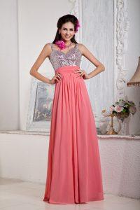 Spaghetti Straps Long Watermelon Chiffon Prom Dresses with Beading