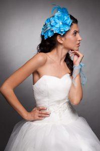 Blue Taffeta Beaded Hand Made Flowers Headpieces