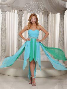 Dressy Asymmetrical Sweetheart Beaded Prom Evening Dress in Aqua Blue