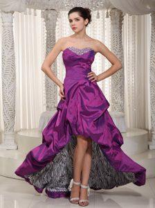 Best Fuchsia Sweetheart High-low Prom Dress in Taffeta and Zebra