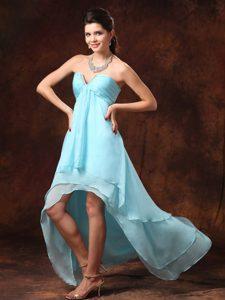 Delish High-low Empire Prom Graduation Dresses in Aqua Blue in Chiffon