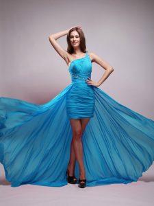 Aqua Blue Asymmetrical One Shoulder Prom Graduation Dress in Chiffon
