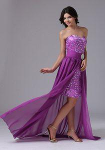Romantic High-low Purple Prom Evening Dress with Rhinestones Over Skirt
