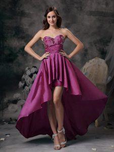Wholesale Price Fuchsia Sweetheart High-low Taffeta Prom Dress for Girls