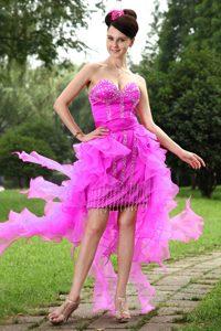 2014 Best Sweetheart High-low Organza Prom Nightclub Dress in Hot Pink