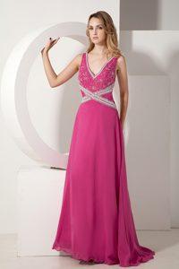 Dramatic Hot Pink V-neck Beading Chiffon Prom Graduation Dress