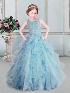 Scoop Light Blue Sleeveless Floor Length Beading and Ruffles Zipper Little Girls Pageant Dress Wholesale