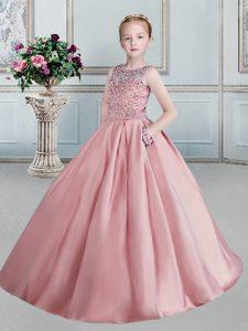 Flare Taffeta Scoop Sleeveless Lace Up Beading Kids Formal Wear in Pink
