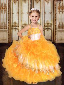 Smart Gold Organza Lace Up Pageant Dress Sleeveless Floor Length Ruffles