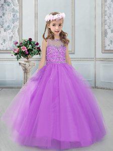 Popular Tulle Sleeveless Floor Length Custom Made Pageant Dress and Beading