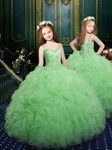 Flirting Floor Length Green Glitz Pageant Dress Spaghetti Straps Sleeveless Lace Up