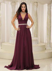 Cheap Plunging Neckline Dark Purple Holiday Dress with Silver Belt