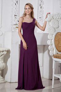 New Dark Purple Column One Shoulder Chiffon Holiday Dress with