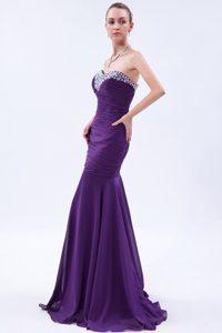 Purple Mermaid Sweetheart Beaded and Ruched Chiffon Holiday Dress