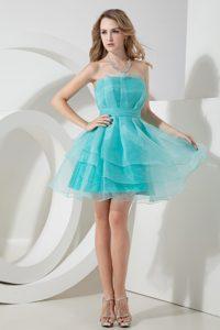 Aqua Blue Strapless Mini-length Layered Organza Homecoming Dress for Junior