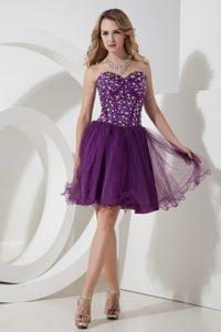 New Sweetheart Mini-length Dark Purple Tulle Homecoming Dress with Beading