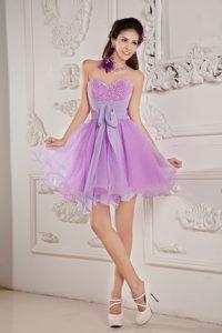 Cute Lavender Princess Beaded Sweetheart Prom Dama Dress in Organza