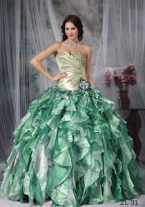 Custom Made Ball Gown Sweetheart Taffeta Quince Dresses with Ruffles