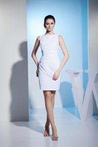 Bateau Neckline Ruche Taffeta Short White Tony Mini-length Bridal Gown
