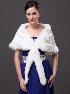Faux Fur Elegant V-Neck White Faux Fur Wedding Party Wedding Wrap