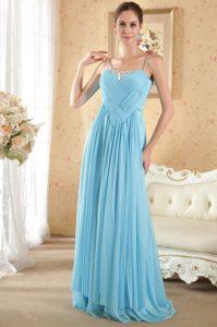 Spaghetti Straps Ruched Aqua Blue Chiffon Beaded Prom Dresses