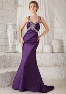 Straps Dark Purple Taffeta Prom Dress with Beading and Cool Back