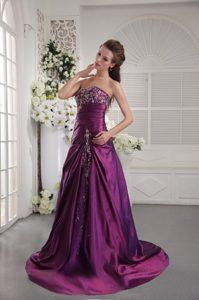 Strapless Eggplant Purple Taffeta Prom Evening Dress with Appliques