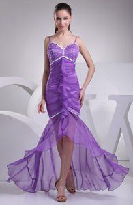 Best Spaghetti High Low Zipper-up Chiffon Prom Nightclub Dresses in Purple