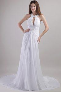 Popular Column Halter Top Chiffon Appliqued Wedding Dress with Chapel Train