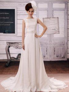 Elegant White Beaded Bateau Wedding Bridal Dress with Court Train on Promotion