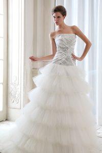Best Strapless Court Train Beaded Garden Wedding Dress in Tulle
