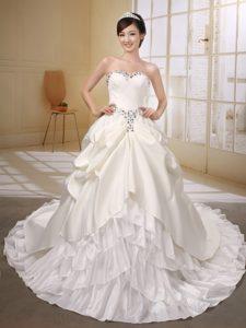 Satin and Taffeta Ivory Wedding Anniversary Dress with Beading and Bows