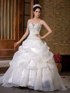 Elegant Beaded Taffeta and Organza Wedding Attire with Sweep Train