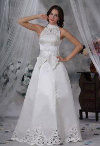 High-neck Appliqued Satin Vintage Wedding Dresses with Bowknot