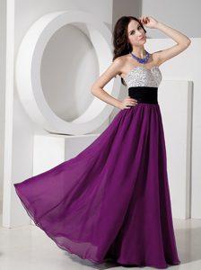 Purple Empire Sweetheart Chiffon Long Prom Dresses with Beading