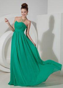 Best Seller Strapless Green Ruched Chiffon Empire Bridesmaid Dress