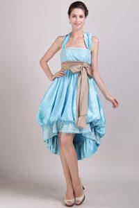 Aqua Blue Princess Halter High-low Taffeta Bridesmaid Dress with Bowknot
