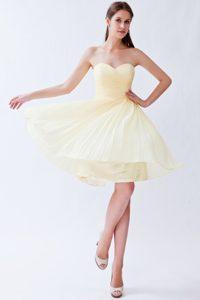 New Light Yellow Empire Sweetheart Bridesmaid Dress in Chiffon with Pleats